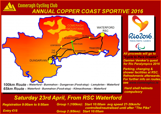 Annual Copper Coast Sportive 2016, Saturday 23rd April